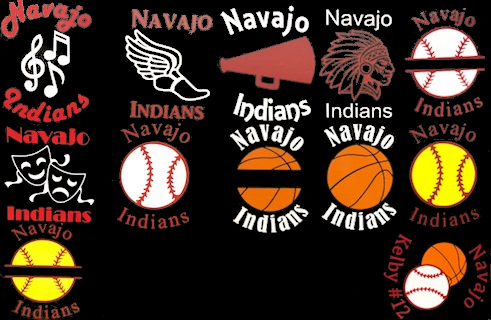 Decals, including ones for Choir, Cross Country, Cheerleading, Mascot, Baseball with bar, Drama, Baseball, Basketball with bar, Basketball, Sofftball, Softball with bar, Customized baseball overlaid on basketball