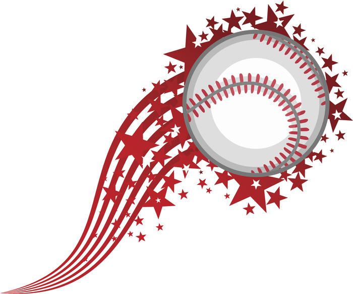 White baseball with red swoosh and stars