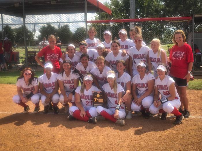 Softball District Champions with Trophy