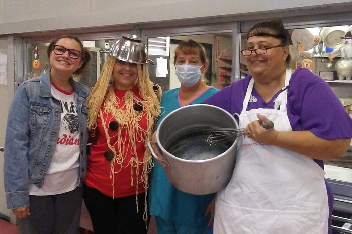 Lunch ladies in costume