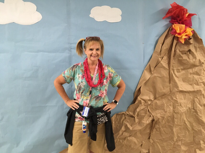 Teacher Michelle Shumaker on Tacky Tourist Tuesday