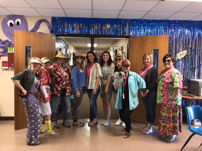 Elementary teachers on Tacky Tourist Tuesday
