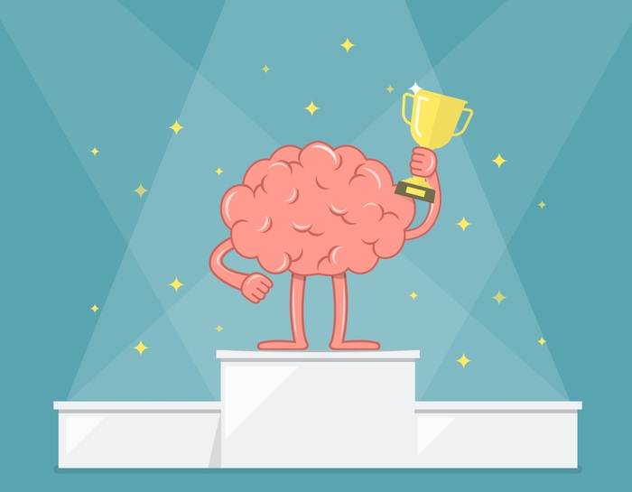 Brain on winner's platform holding trophy