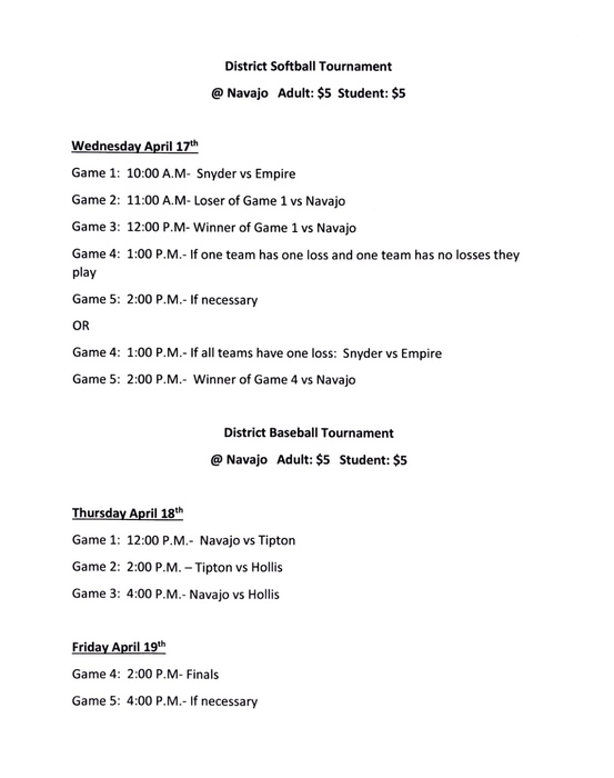 District Softball and Baseball Schedule