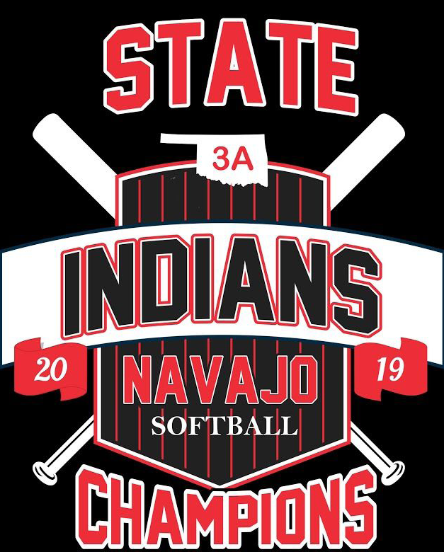 "Detail of the Navajo Softball 2019 State Champions shirt. Front reads ""State 3A Indians 20 Navajo 19 Softball Champions"""