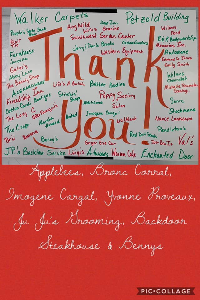 Thank you note to supporters for Fall Carnival